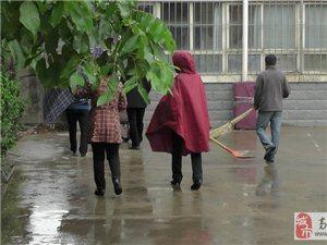 """高邑街道办""""四城同创""""筑美丽社区 组织居民志愿者进小区宣传和清理卫生"""