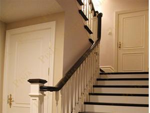 简约实木楼梯 实木立柱 白色混搭实木楼梯 客户案例欣赏