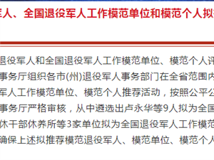 青海省�M推�]全��模范退役�人、模范�挝缓湍7��人人�x公示
