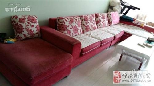 出售粉色布艺大套家居自用沙发