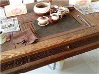 精美实木茶桌一套(鸡翅木)