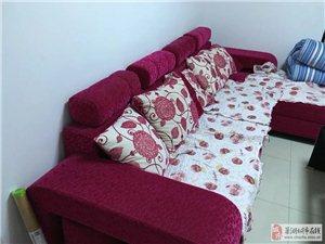 出售9成新布艺组合沙发和茶几